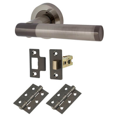 Touchpoint Bella Lever Door Handle on Rose - Door Kit - Black/Satin Nickel