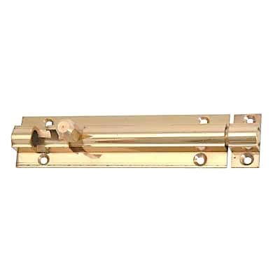 Straight Barrel Bolt - 100 x 25mm - Polished Brass