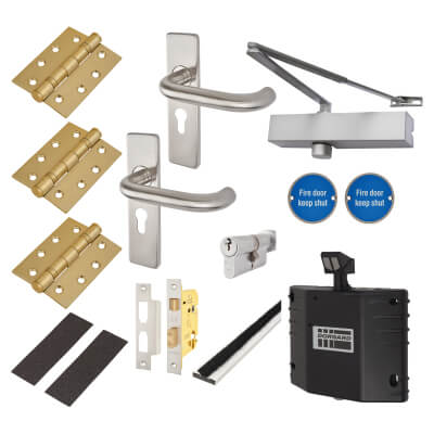 Medium Duty Lever on Backplate Fire Door Kit with Hold Open Device - Stainless Steel