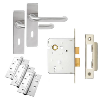 Lever on Backplate Door Kit - 3 Lever Sashlock - Stainless Steel