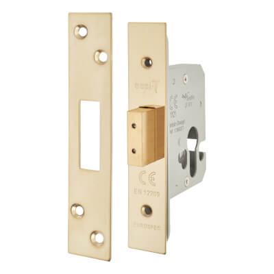 A-Spec Architectural Euro Deadlock - 65mm Case - 44mm Backset - PVD Brass